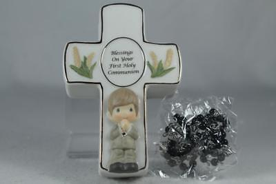 Precious Moments-'Communion Cross Box' Boy With Rosary Box #123407 New In Box