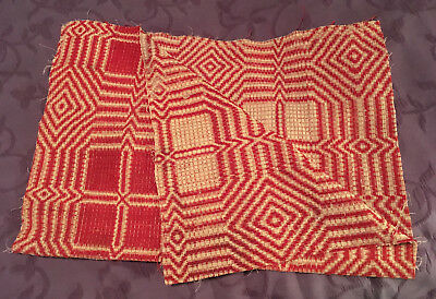 Antique Red Coverlet Fabric Piece