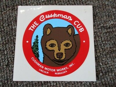 "Way Cool ""CUSHMAN CUB"" CUSHMAN MOTORS DECAL...MINT...Lincoln, Nebraska"