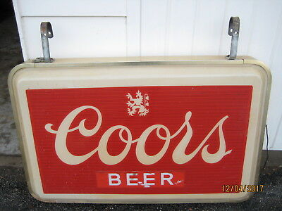 """Vintage Coors Beer Lighted 50"""" X 32"""" Outdoor Sign Advertising Hanging Bar Light"""