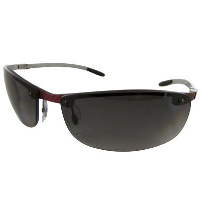 Ray Ban Tech RB8305 Carbon Fibre Semi Rimless Polarized Sunglasses, Grey/Red