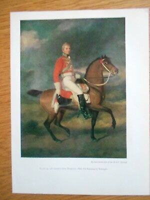 Vintage Military Print- 4Th Queen's Own Dragoons 1808 Oil Painting By Reinagle