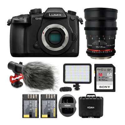 Panasonic Lumix DC-GH5 Wi-Fi 4K Digital Camera Body with 35mm T/1.5 Cine Bundle