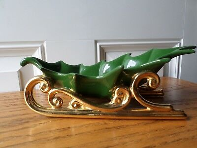 Vintage hand painted ceramic holly leaf sleigh gold runners candy dish