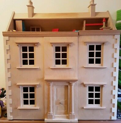 Wooden Georgian Dolls House With Furniture!