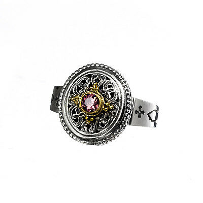 Gerochristo P2388N ~ Sterling & Gold Plated Silver with Zircon Medieval Ring