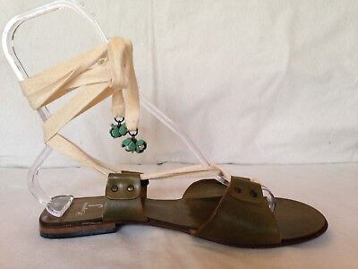 27391f6bf9a8 Exquisite J Anthropologie flat sandals 40 9.5 10 olive green ankle tie  tassels