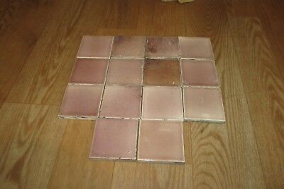 14 Vintage Antique 3 X 3 Glazed Amber Pink Fireplace Hearth Tile #1228