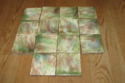 14 Vintage Antique 3 X 3 Glazed Green Brown White Blue Fireplace Tile #1229
