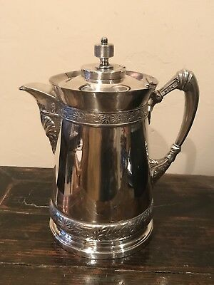 Rare Antique 19th C Meriden Silver Plate Plated Water Jug Pitcher #487 Victorian