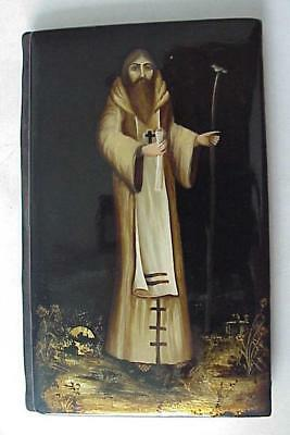 20c. RUSSIAN ROYAL FEDOSKINO PAINTING ORTHODOX LACQUER NOOTEBOOK BOX st. BAPTIST