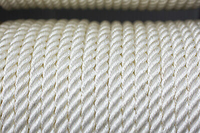 Nylon 3 Strand Twisted  Rope 14mm x 50 metres, White