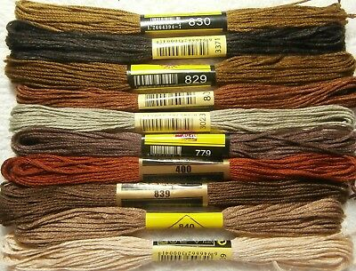 Stranded Cotton Embroidery Thread - Grouped Colours - Browns - 10 Pieces