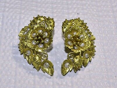 Antique Art Nouveau 14K Yellow Gold Seed Pearl Flower Floral Earrings with Posts