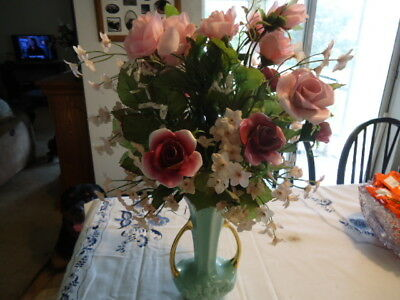 Vintage 80's PINK Rose Flower Porcelain, Silk rose bouquet with vase