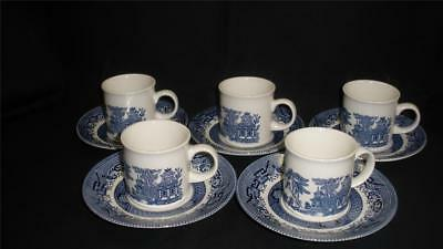 Beautiful Blue Willow Demi Coffee Cups And Saucers X 5 Churchill England