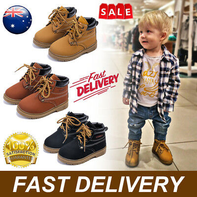 Kids Girls Boys Ankle Boots Toddler Waterproof Martin Anti-slip School Shoes New