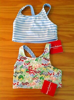 GIRLS HANNA ANDERSSON 110 5-6 2pc SWIMSUIT TANKINI LOT NWT STRIPES FLOWERS