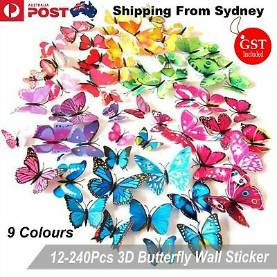 12-240Pcs 3D Butterfly Fridge Magnet Wall Sticker Wing PVC Room Decor Decal Appl