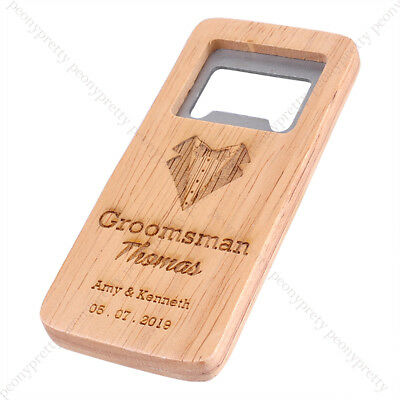Personalised Wooden Bottle Opener For Groomsmen Bar Gift Wedding Favors Bar Ware