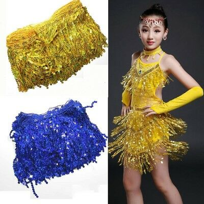 "6.5Yard Sequin Tassel Trim 15cm6"" Fringe Fringing Latin Costume Sewing Crafts"
