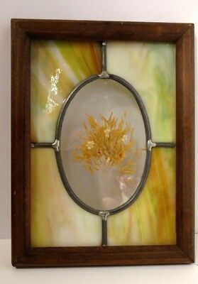 Vintage Hand Made Leaded Stained Glass Picture Window Dried Flowers In Center