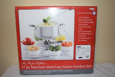 17pc my perfect kitchen stainless steel lazy susan fondue set