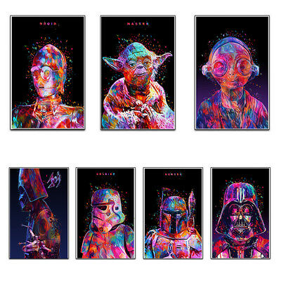 Star Wars Movie Character Paintings HD Prints Abstract Poster Wall Canvas Art E&