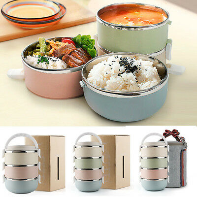 3/4 Tier Stainless Steel Thermal Insulated Picnic Lunch Box Bento Food Container