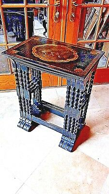 EARLY 19c CHINESE EXPORT SET OF 4 NESTING TABLES W/OIL PAINTING TOP ON LEATHER