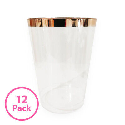 12 Pack Rose Gold Trim Clear Drinking Cups - 270ml Birthday Party Decoration Sup
