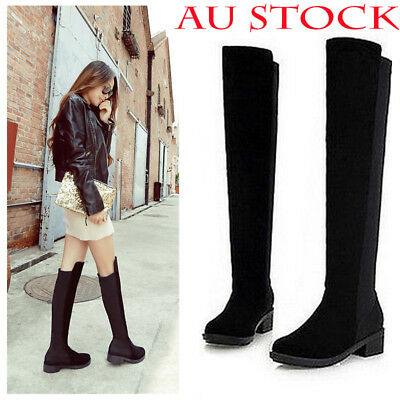Winter Womens Ladies Over The Knee Thigh High Flat Low Heels Black Boots Size AU