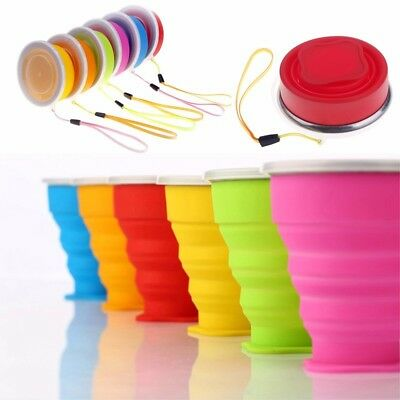 Portable Outdoor Foldable Cup Silicone Collapsible Drink Mug Travel Water Cup UK