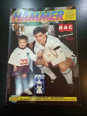 West Ham United v Aldershot FA Cup 3rd Round Replay match Programme