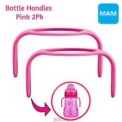 MAM Bottle Handles│Cup Holder│Fit to MAM Bottles & Trainer│BPA Free│Pink│2Pk│0+m