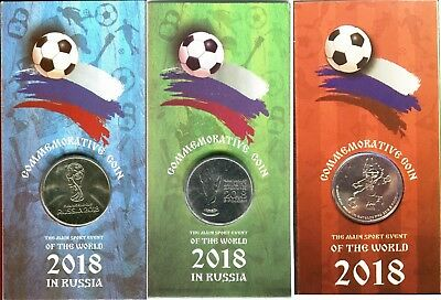 Russia 25 rubles FIFA World Cup 2018 Football three types, three coins. Blister