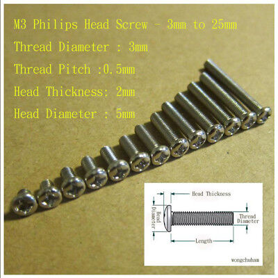 M3 Philips Head Screw - 3 to 25mm and M3 Hex Screw Nut