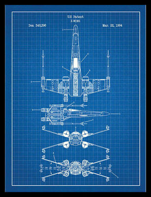Star wars x wing fighter patent blueprint poster a4 349 star wars x wing fighter patent blueprint poster a4 malvernweather Images