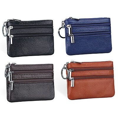 Fashion Men Women Leather Coin Purse Card Wallet Clutch Zipper Small Change Bag