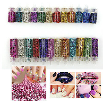12 Colors Caviar Mini Balls Micro Beads Nail Art Acrylic UV 3D Decorations NIB