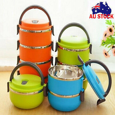 Hot 1/2/3/4 Layer Stainless Steel Insulated  Food Thermal Container Lunch Box AU