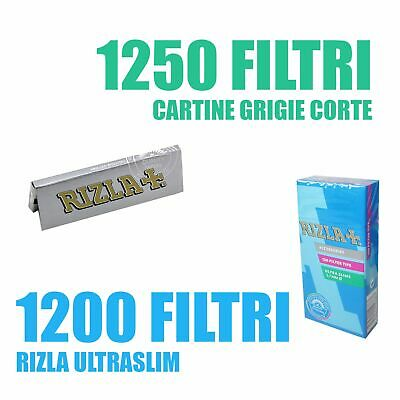 1250 CARTINE RIZLA CORTE SILVER + 1200 FILTRI ULTRASLIM 5,7 mm