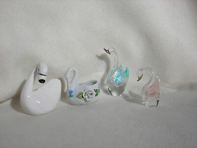 Vintage Lot of 4 Swan Figures 2 Porcelain & 2 Glass w/Pink & Blue Tinted Wings