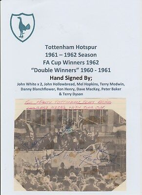 Tottenham Hotspur 1961-1962 Rare Original Autographed Team Group 10 X Signatures