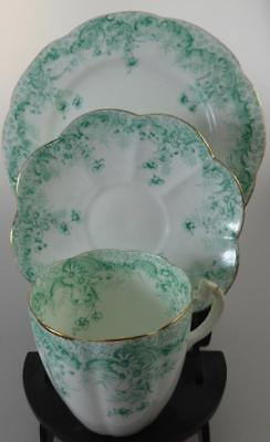 WILEMAN GREEN+WHITE TRIO CUP+SAUCER+PLATE PAT. NO.5894 c.1900 FOLEY SHELLEY