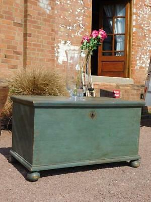 An Ample Sized Antique Original Painted Storage Chest Of Good Form