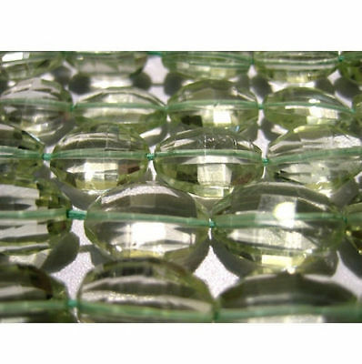 """5"""" Strand 11 Pcs Green Amethyst Beads, Step Cut Oval Beads, Faceted Amethyst Gem"""