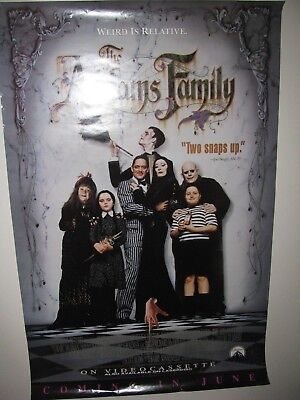 The Addams Family 1991 ORIG. 27x40 video poster promo - rolled