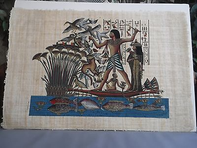 Egypt Papyrus Painting Canoe Fishing