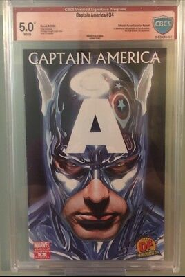 Captain America #34 DF Alex Ross Variant CBCS 5.0 W/Check Mark Signed By Ross.